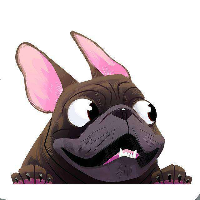 Stickers 3D - Noir - Lovely bouledogue
