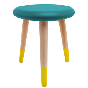 Alice Stool Petrol Blue Lemon Yellow by Rose in April - minifili