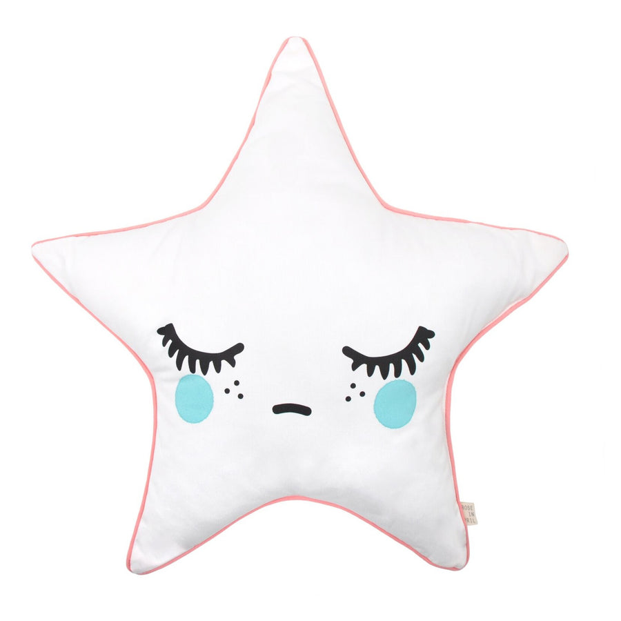Sleepy Dolly Star Cushion Coral Pink Piping by Rose in April - minifili