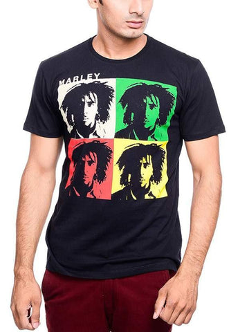 Bob Marley T-SHIRT Bob Marley Amplified Depth Black Half Sleeve Men T-Shirt