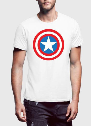 Captain America T-SHIRT Captain America Shield 2 Half Sleeve Men T-Shirt