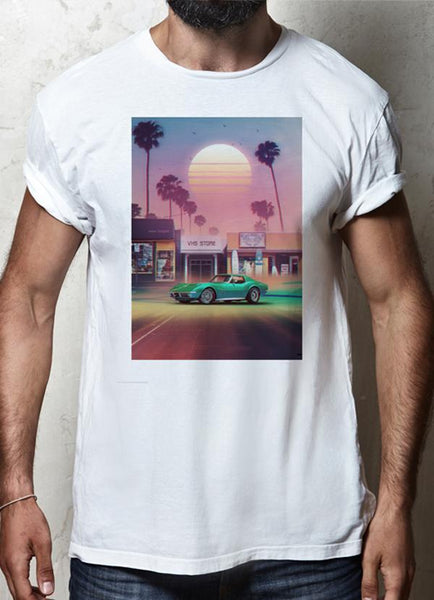 ZAINAB ABBAS T-SHIRT Synthwave Sunset Drive WHITE T-SHIRT