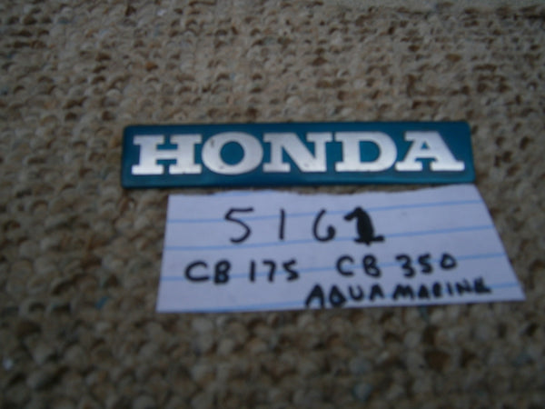 Honda CB350 CL350 CB175 CL175 Rare Candy Blue Green  Gas Tank Emblem sku 5161