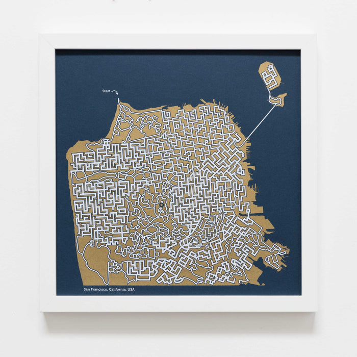 Blue and Gold San Francisco Print | 12X12 Gold Map