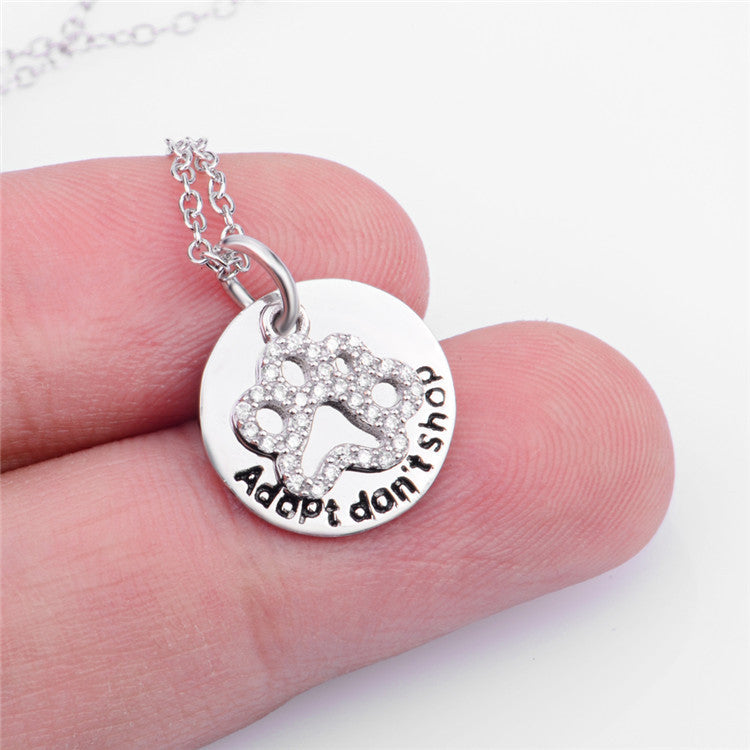 pure 925 sterling silver dog footprint necklace - Xingjewelry