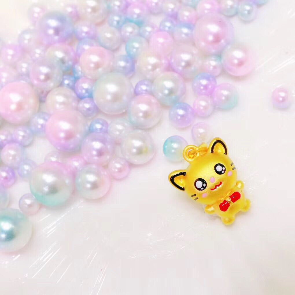 24k gold cute kitty cat charm pendant for necklace and bracelet - Xingjewelry