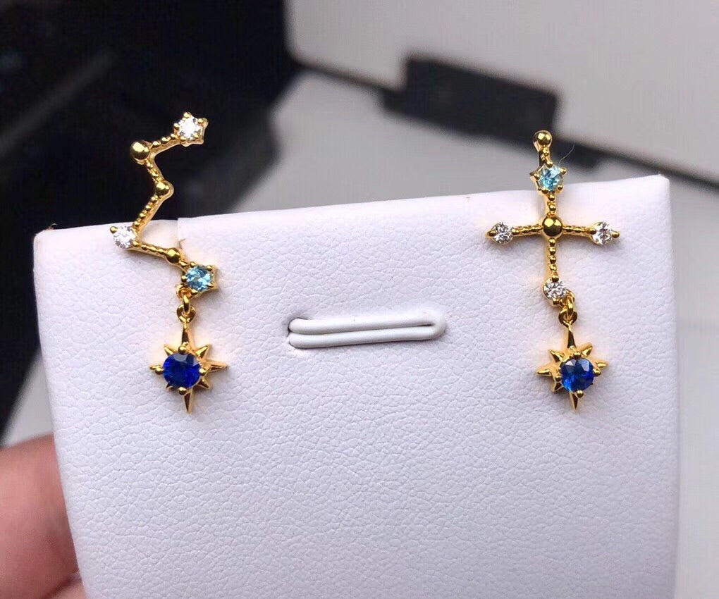 18k gold diamond gemstone earring with cassiopeia colored - Xingjewelry