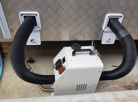 VVKB Portable Diesel Heater connected to van