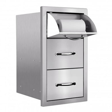 Double Drawer and Paper Towel Dispenser for Stone Outdoor Kitchen