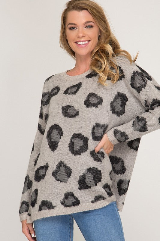 Lucy Leopard Sweater - Grey
