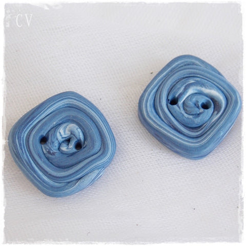 Square Blue Polymer Clay Buttons