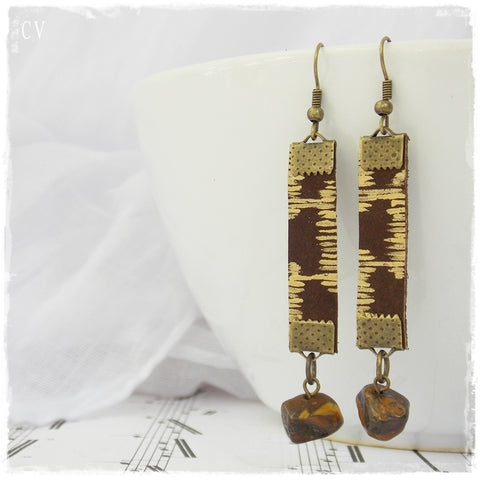 Tiger's Eye Leather Earrings