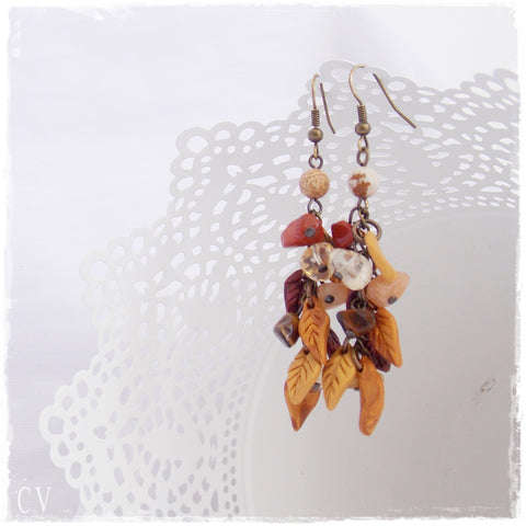Polymer Clay Dangle Stone Earrings