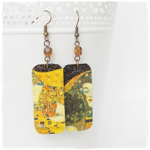 Gustav Klimt Leather Earrings