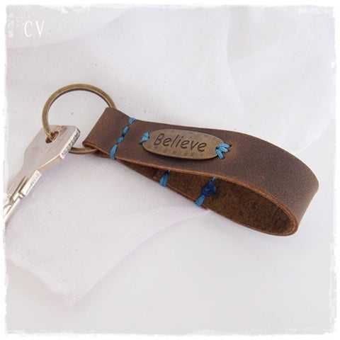 Inspiration Believe Positive Leather Keychain