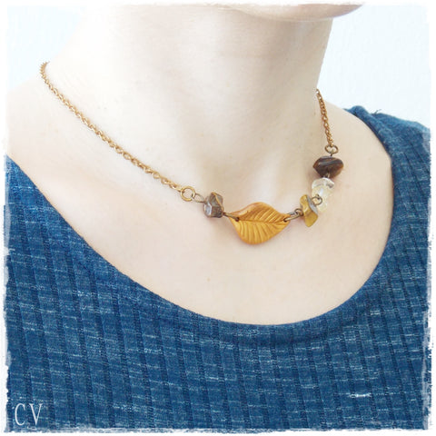 Leaf Citrine Stone Necklace