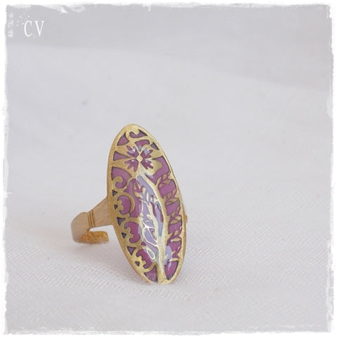 Filigree Floral Brass Ring