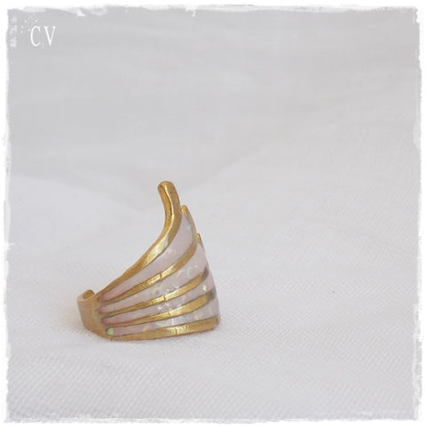 Geometric Linear Brass Ring ~