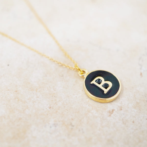 Enamel Initial Necklace (Black / Gold)