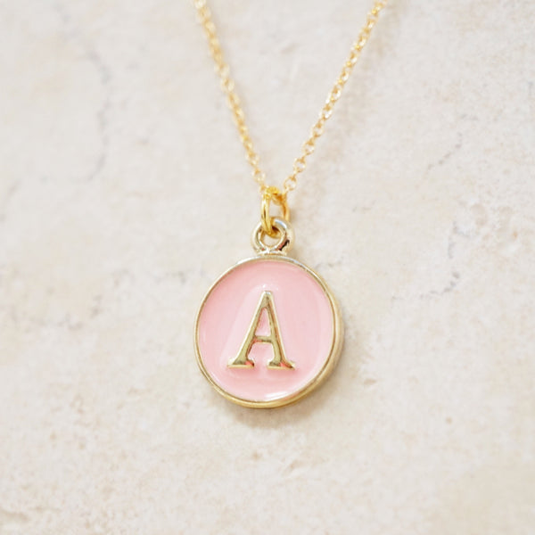 Enamel Initial Necklace (Pink / Gold)