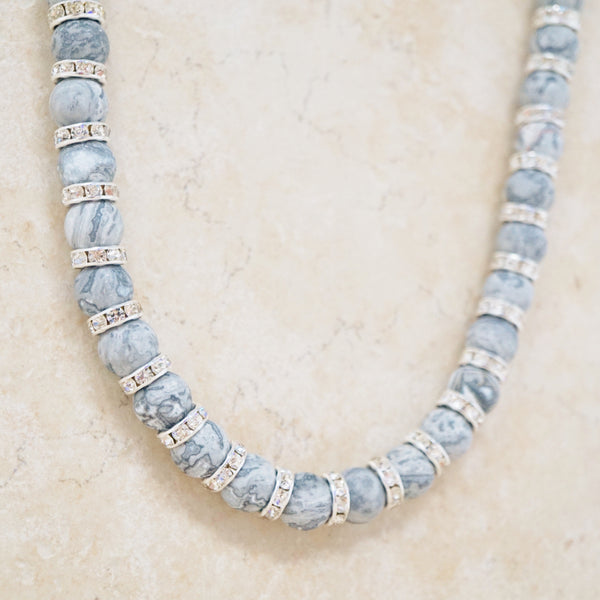 Gray Picasso Jasper Rondelet Necklace