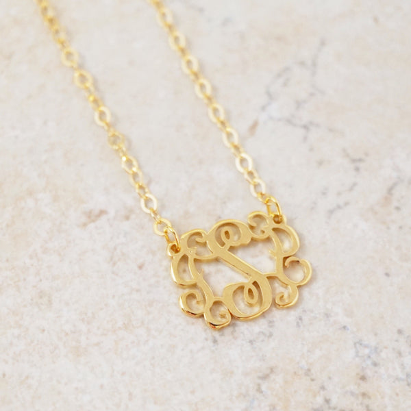 Ornate Initial Necklace (Gold)
