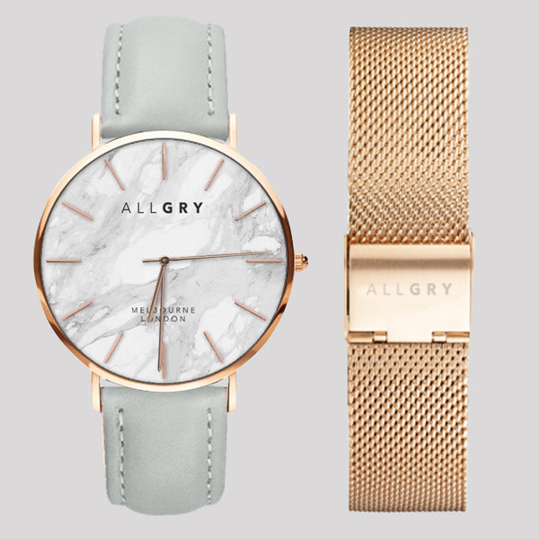 White Marble & Rose Gold Slim Case Watch with Grey Stitched Leather and Rose Gold Mesh Strap Gift Set