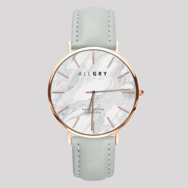 White Marble & Rose Gold Slim Case Watch with Grey Stitched Leather Strap
