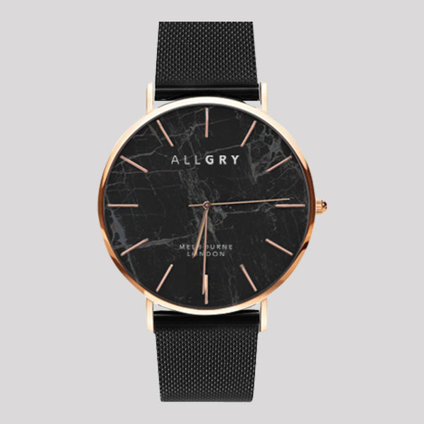 Black Marble & Rose Gold Slim Case Watch with Black Mesh Strap