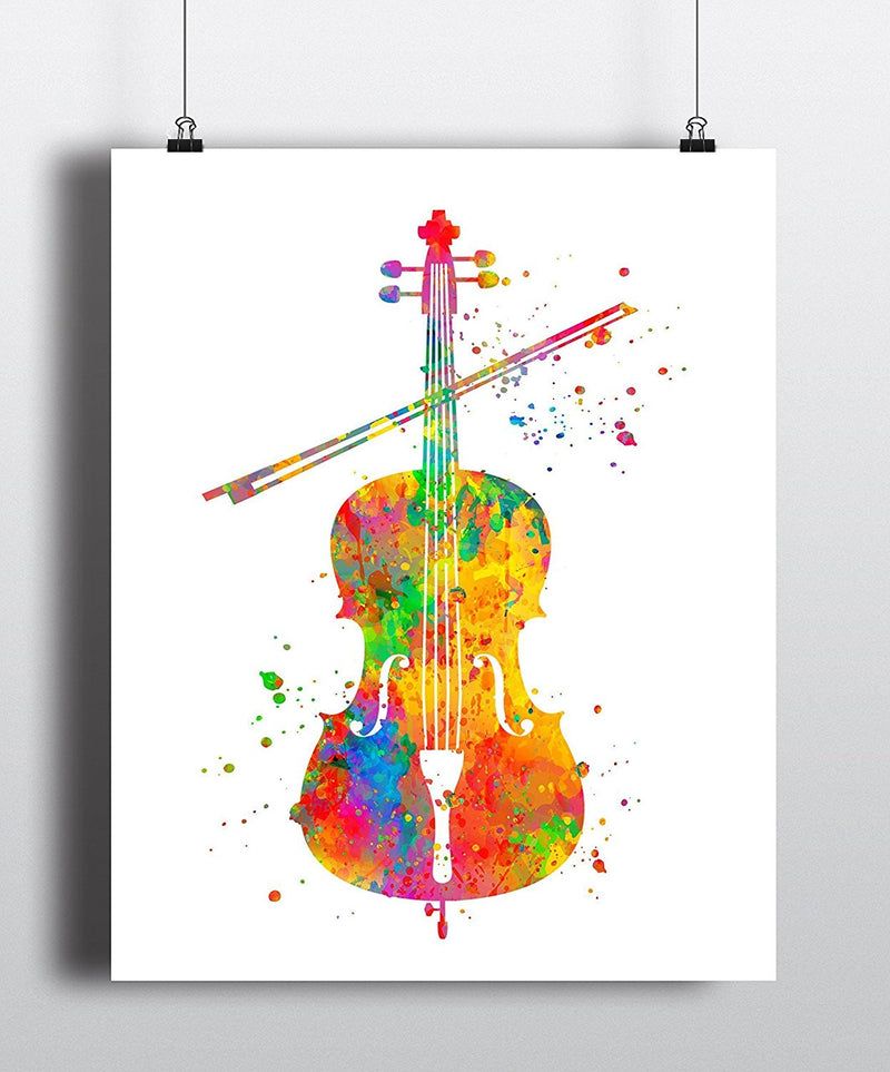 Cello Watercolor Art Print - Unframed - Zuzi's