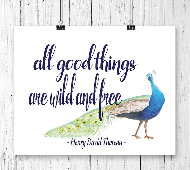 All Good Things are Wild and Free Quote Art Print - Unframed - Zuzi's