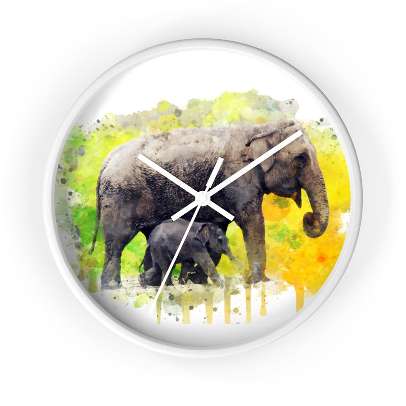 Watercolor Elephants Wall Clock - Zuzi's