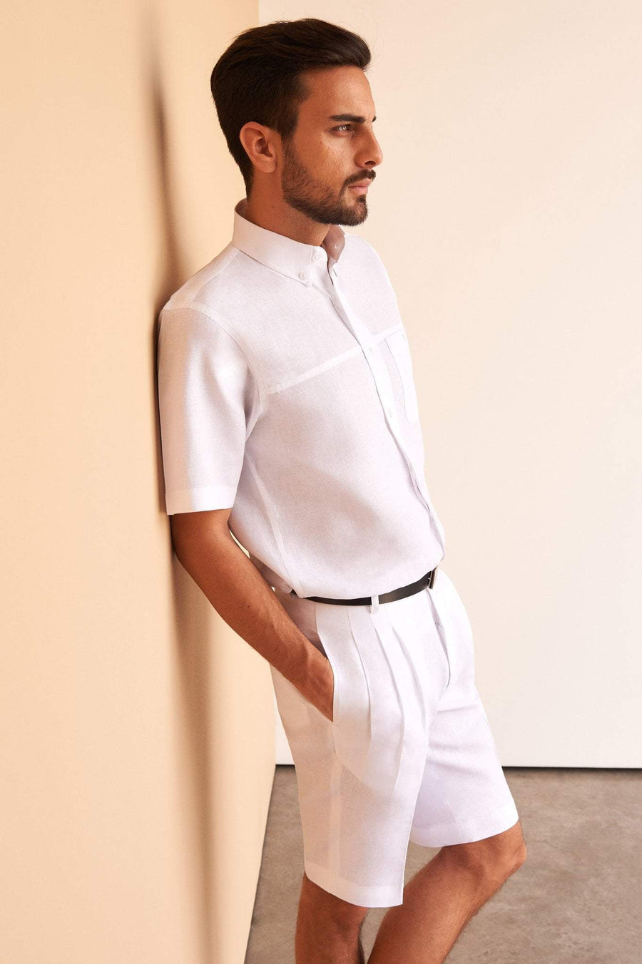 Men's Shorts White Linen Wear Clothing Fashion Luxury Golf