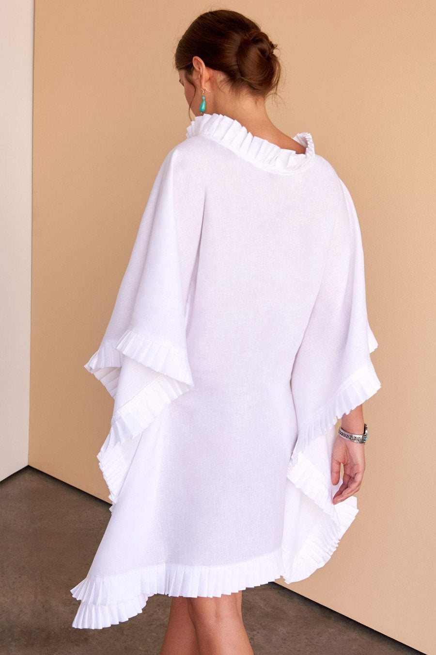 white Italian linen kaftan ladies dress