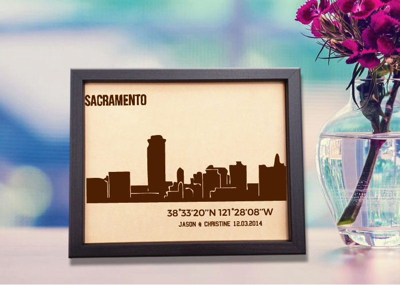 Lik389 Leather Engraved Wedding Third Anniversary sacramento California Longitude Latitude personalized gift place wedding date wedding names
