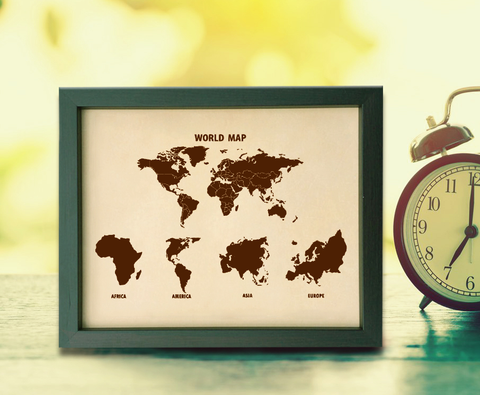 Lik399 Leather Engraved Wedding Third Anniversary World map continents
