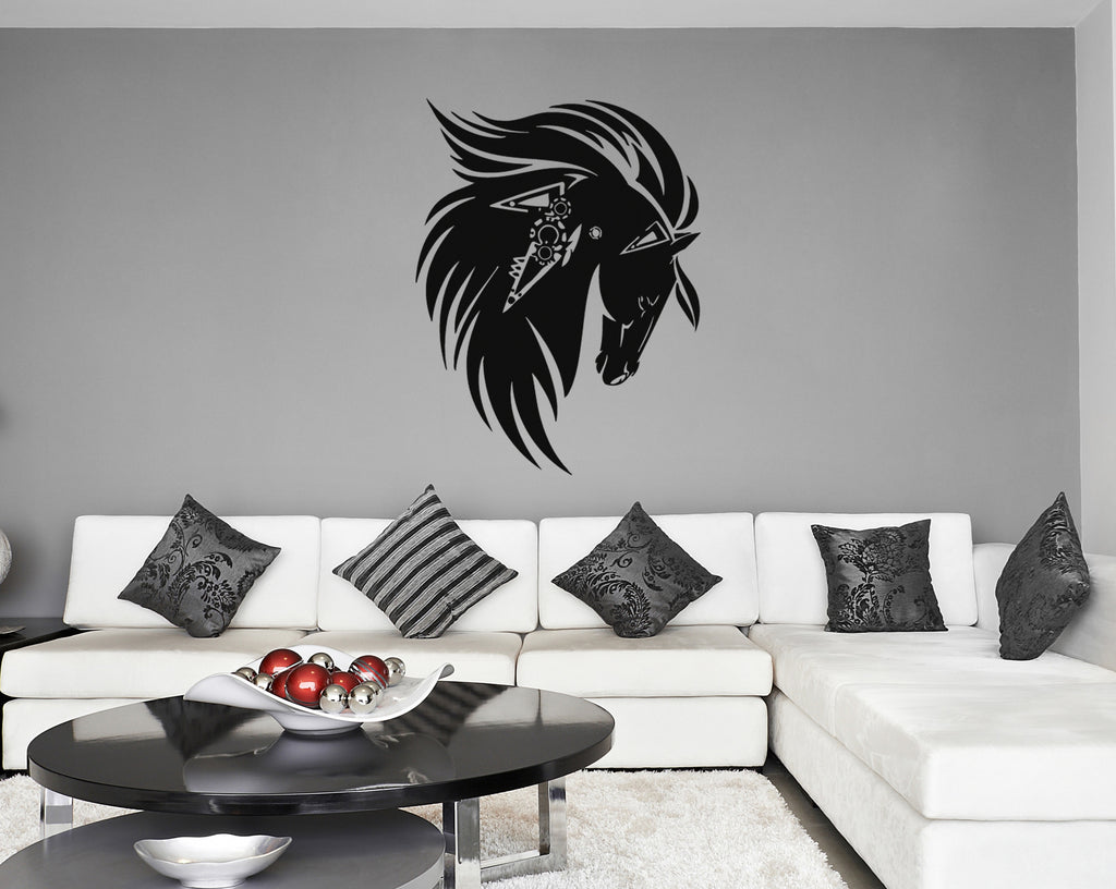 ik303 Wall Decal Sticker Decor horse Ravens Indian animal kids bedroom