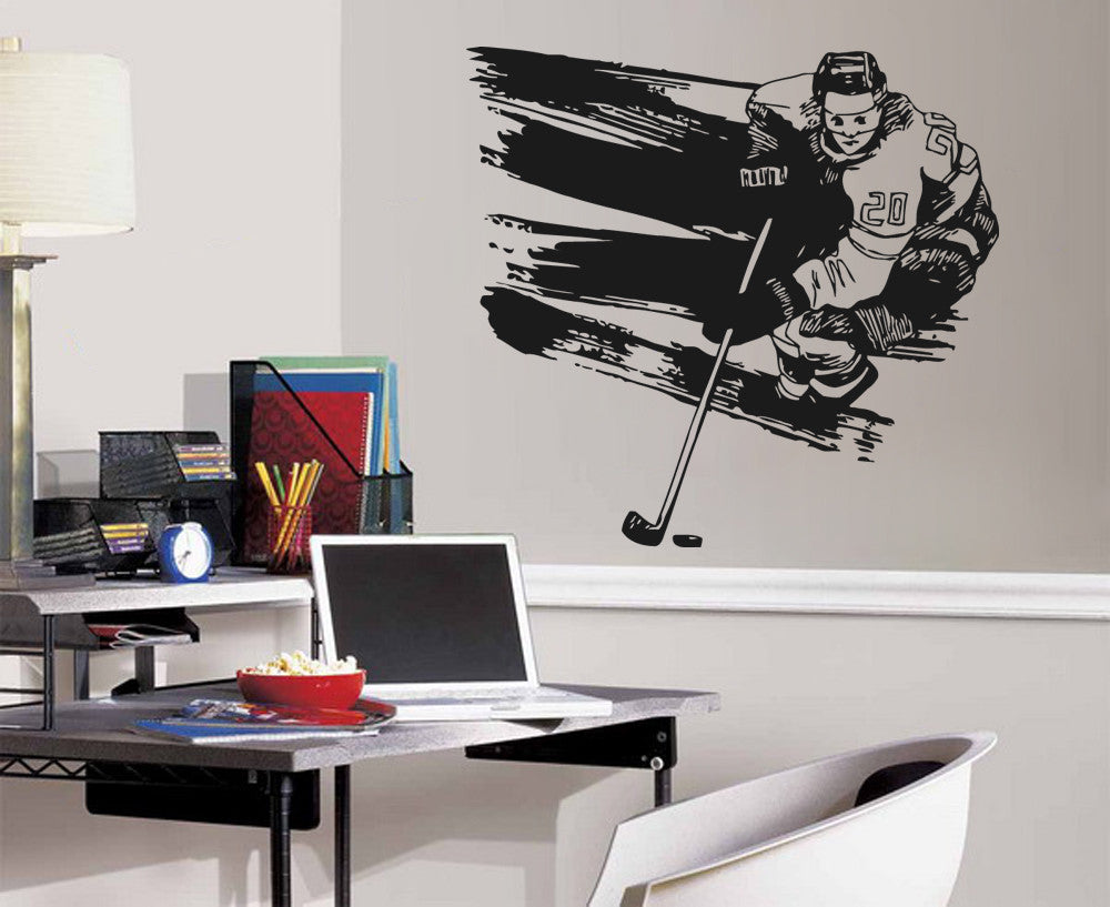 ik556 Wall Decal Sticker hockey stick puck rink sport team game kids bedroom