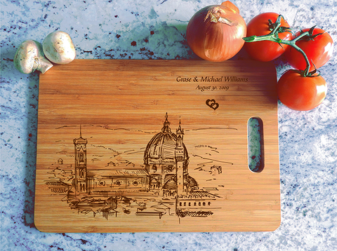 ikb528 Personalized Cutting Board florence honeymoon wooden wedding gift wedding anniversary