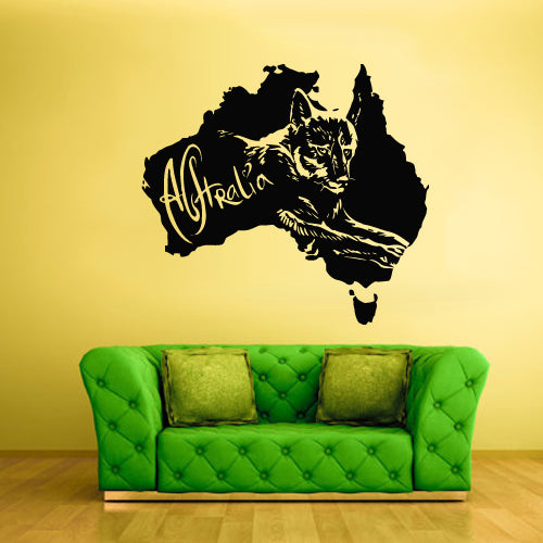 Wall Vinyl Decal Sticker Decals Decor Australia Animal Map Wolf Skin  z1716