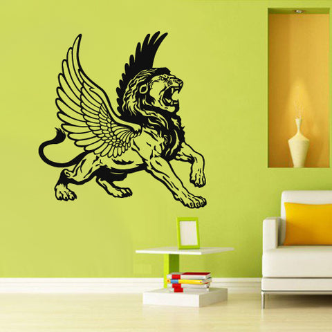 Wall Decal Vinyl Decal Sticker Decor Art Bedroom Lion Wings Tiger Cat Animal  z2996