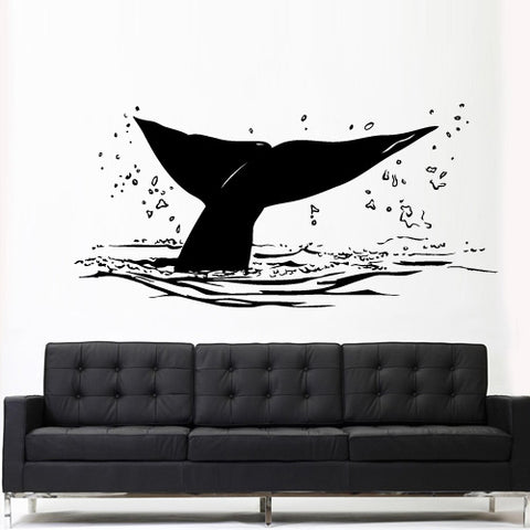 Wall Decal Decal Sticker Sea Ocean Orca Fish Whale Tail Animals Decal Tribal  z3146