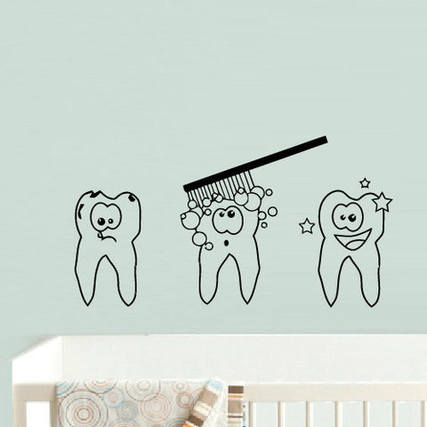 Wall Decal Vinyl Decal Sticker Nursery Kids Baby Teeth Tooth Brush Wash  z745