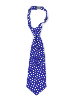 Boys necktie in royal blue with silver stars print