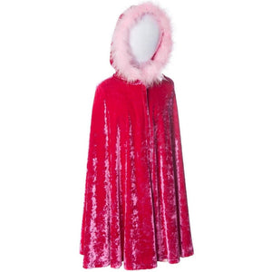 childs fuchsia velvet princess cape with fur trimmed hood