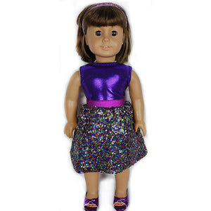 doll multicolor sequin skirt set for 18 inch doll