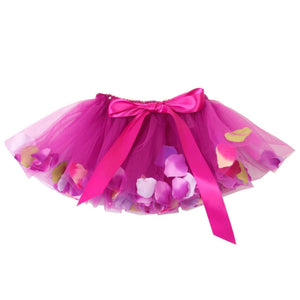 magenta tulle fairy tutu with flower petals and bow