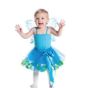 toddler wearing teal fairy tutu skirt with tulle and flower petals
