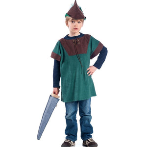Boy wearing peter pan style tunic and robin hood style hat and toy sword