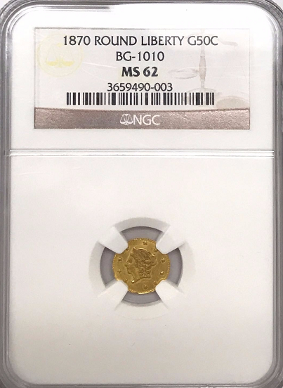 1870 California Fractional 50c BG-1010 NGC MS62